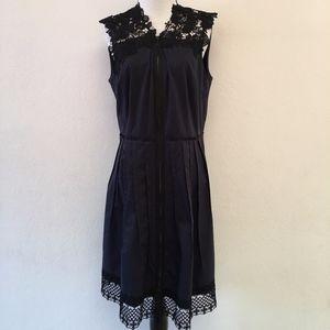 Elie Tahari Blue Laced Knee Length Dress Size 12